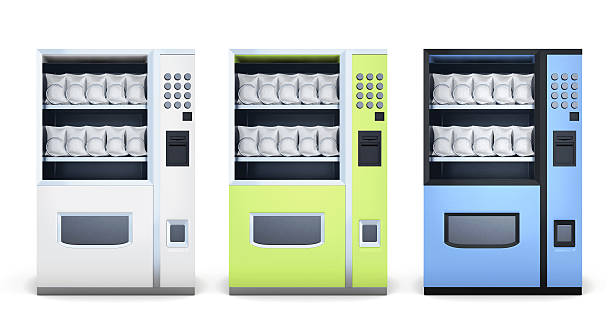 Set of machine for sale of snacks isolated on white – Foto