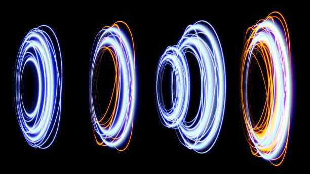 uppsättning magic portal. utrymme resekoncept, trattformad tunnel som kan ansluta ett universum med en annan. blå strålar av en svart scen med gnistor. rymd tunneln. futuristisk teleport. 3d-illustration - teleport bildbanksfoton och bilder