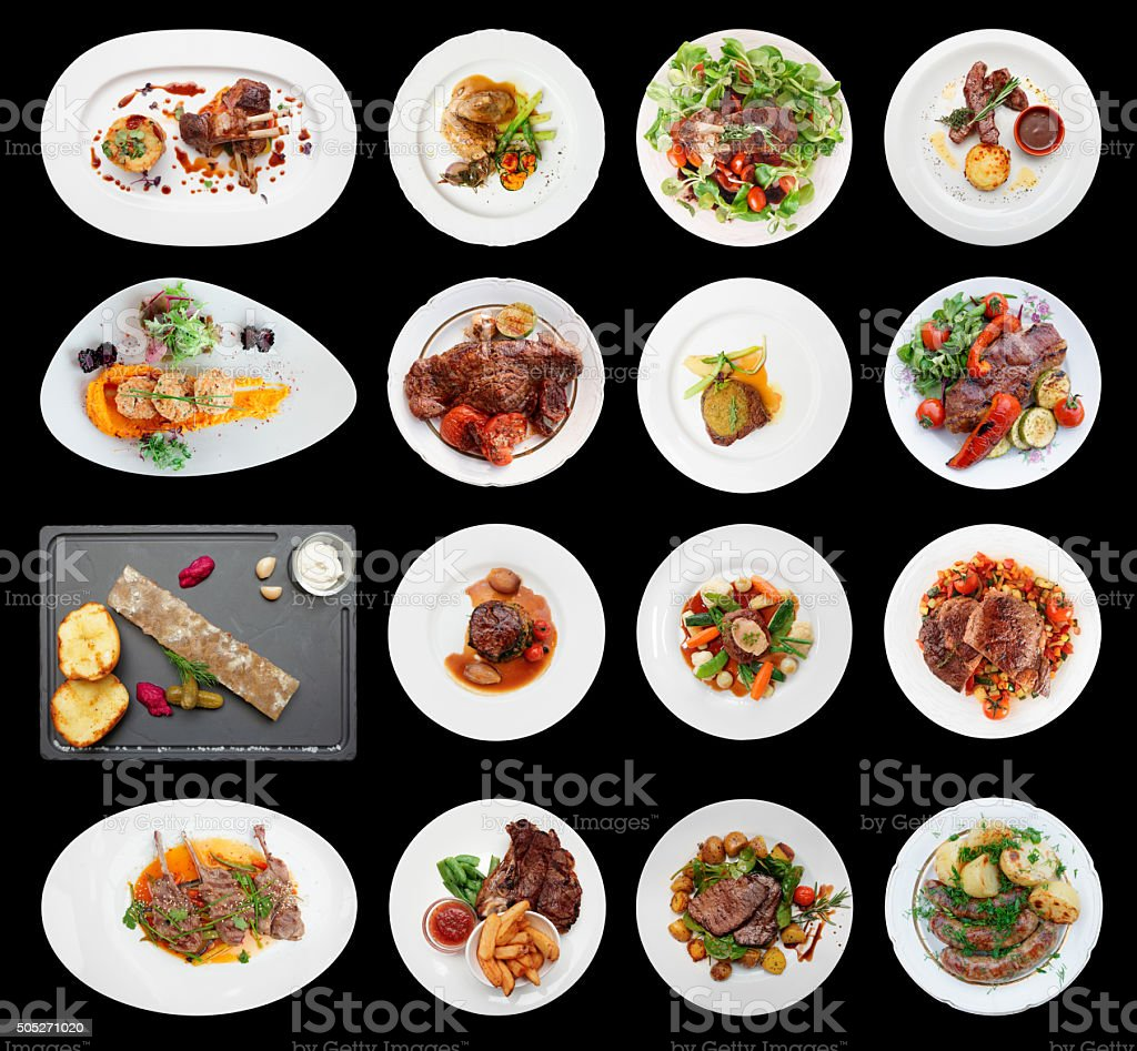 Set of main meat dishes isolated on black stock photo