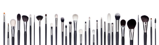 Set of make-up brushes lined up in alternating pattern. Isolated on white Complete set of professional make-up brushes lined up in a pattern, alternating big and small ones. Isolated on white. make up brush stock pictures, royalty-free photos & images