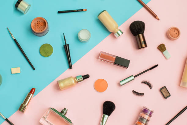Set of Makeup professional cosmetics on color background stock photo