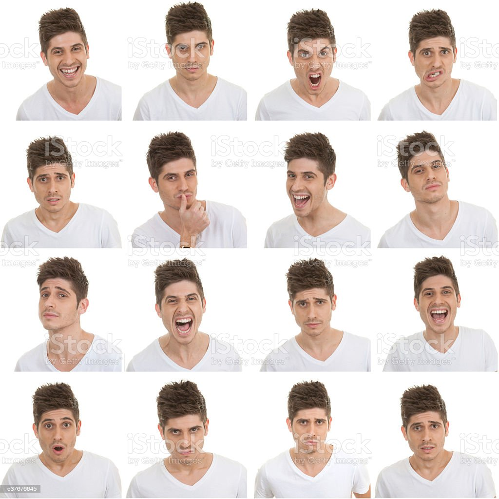 set of male facial expressions stock photo