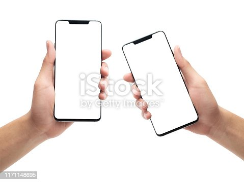 534217898istockphoto Set of male hand holding the black smartphone with blank screen isolated on white background with clipping path 1171148695