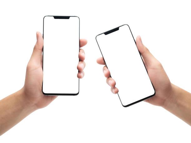 satz von männlichen hand hält das schwarze smartphone mit leeren bildschirm isoliert auf weißem hintergrund mit clipping-pfad - menschliche hand stock-fotos und bilder