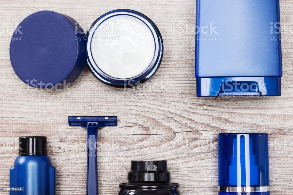 Set of male skin care essentials stock photo