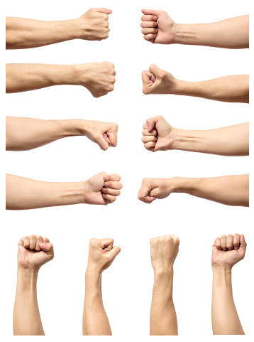 istock Set of male's fist isolated on white background 688548218