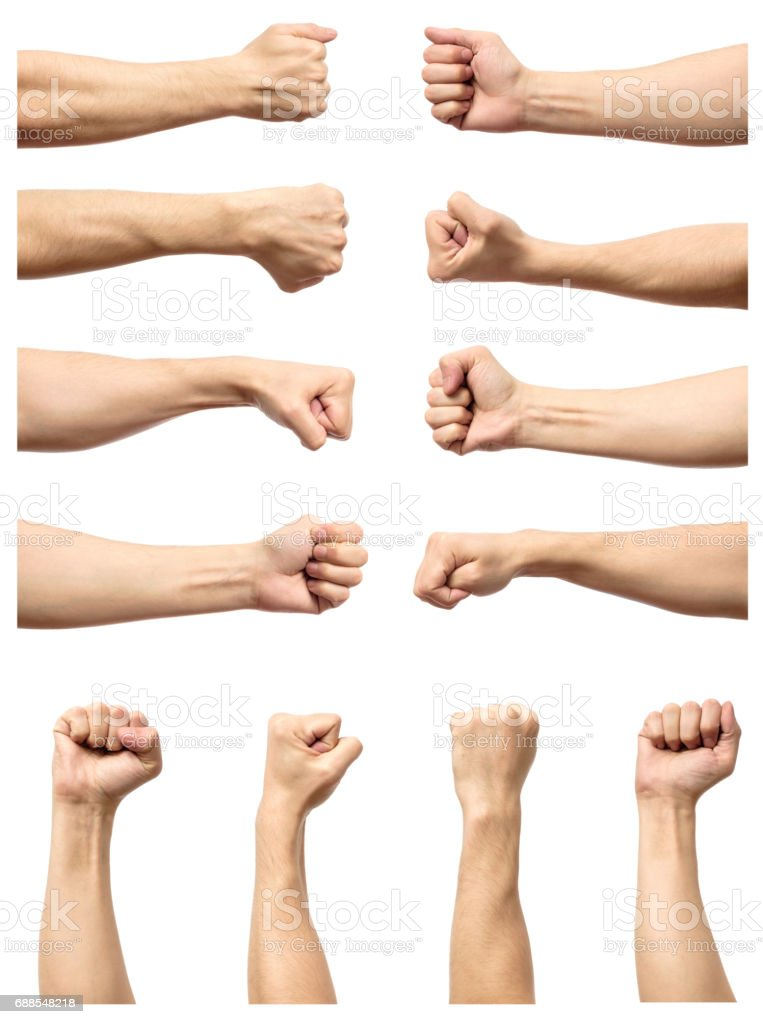 Set of male's fist isolated on white background stock photo