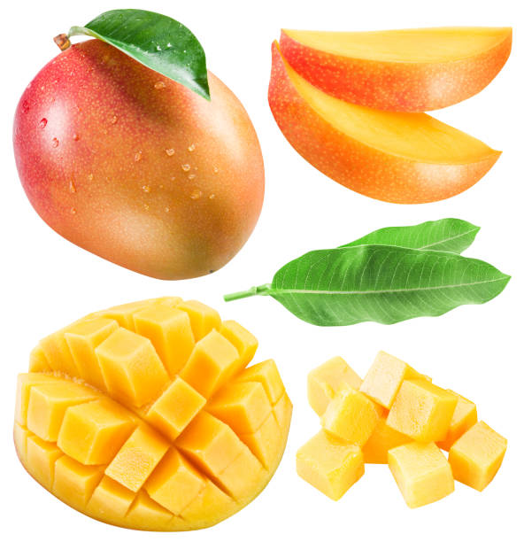 Set of mango fruits, mango slices and leaf. Set of mango fruits, mango slices and leaf. Clipping path for each item. mango stock pictures, royalty-free photos & images