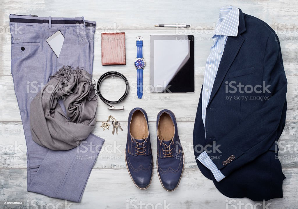 Set of mans fashion and accessories stock photo