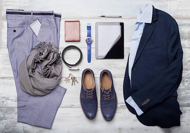 ein satz von mans mode und accessoires - herren outfit stock-fotos und bilder