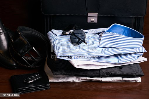 625840656 istock photo Set of mans fashion clothing and business accessories 887361104