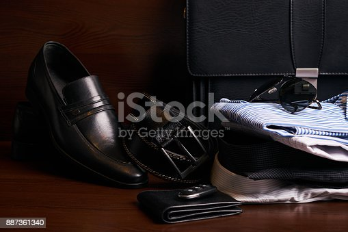 625840656 istock photo Set of mans fashion clothing and business accessories 887361340
