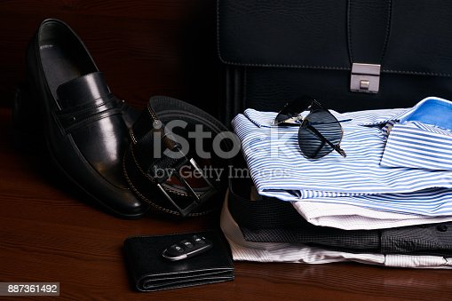 625840656 istock photo Set of mans fashion clothing and business accessories 887361492