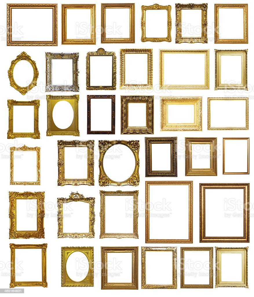 Set of many gilded frames. Isolated over white background stock photo