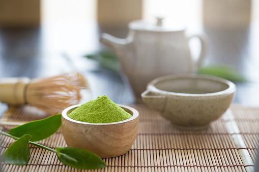 Set of matcha powder bowl wooden spoon and whisk green tea leaf Organic Green Matcha Tea ceremony