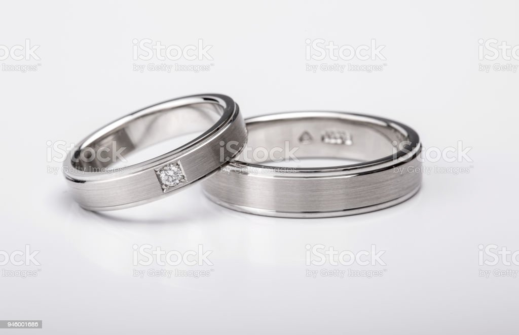 Set Of Matching Wedding And Engagement White Gold Rings For Men Women On Isolated White Background Stock Photo Download Image Now Istock