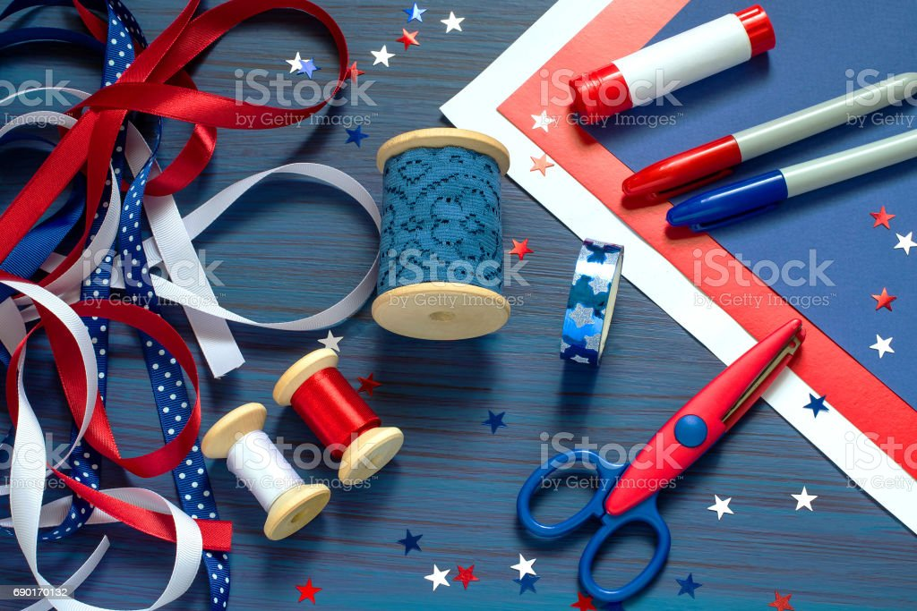 Set of materials for making souvenirs and gifts for Independence Day stock photo