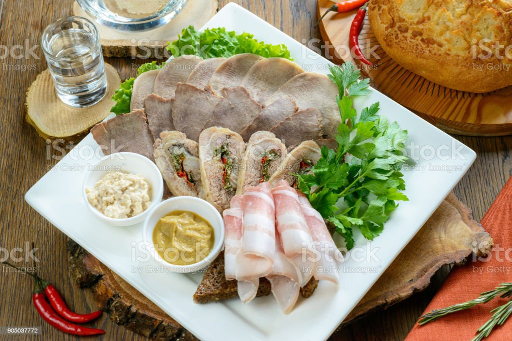 Set of meat cut stock photo