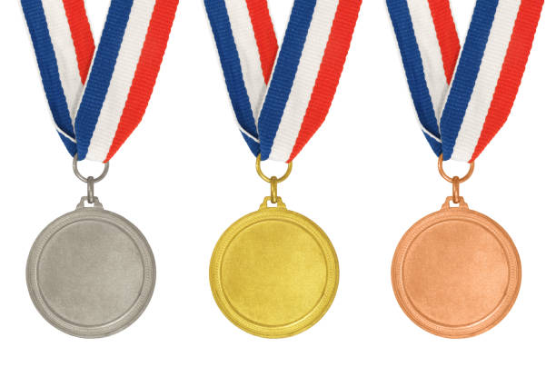 set of medals – gold, silver and bronze - badge logo stock photos and pictures