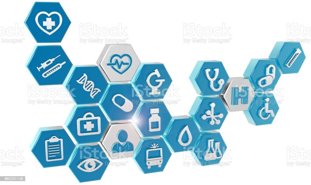 set of medical icons on white stock photo