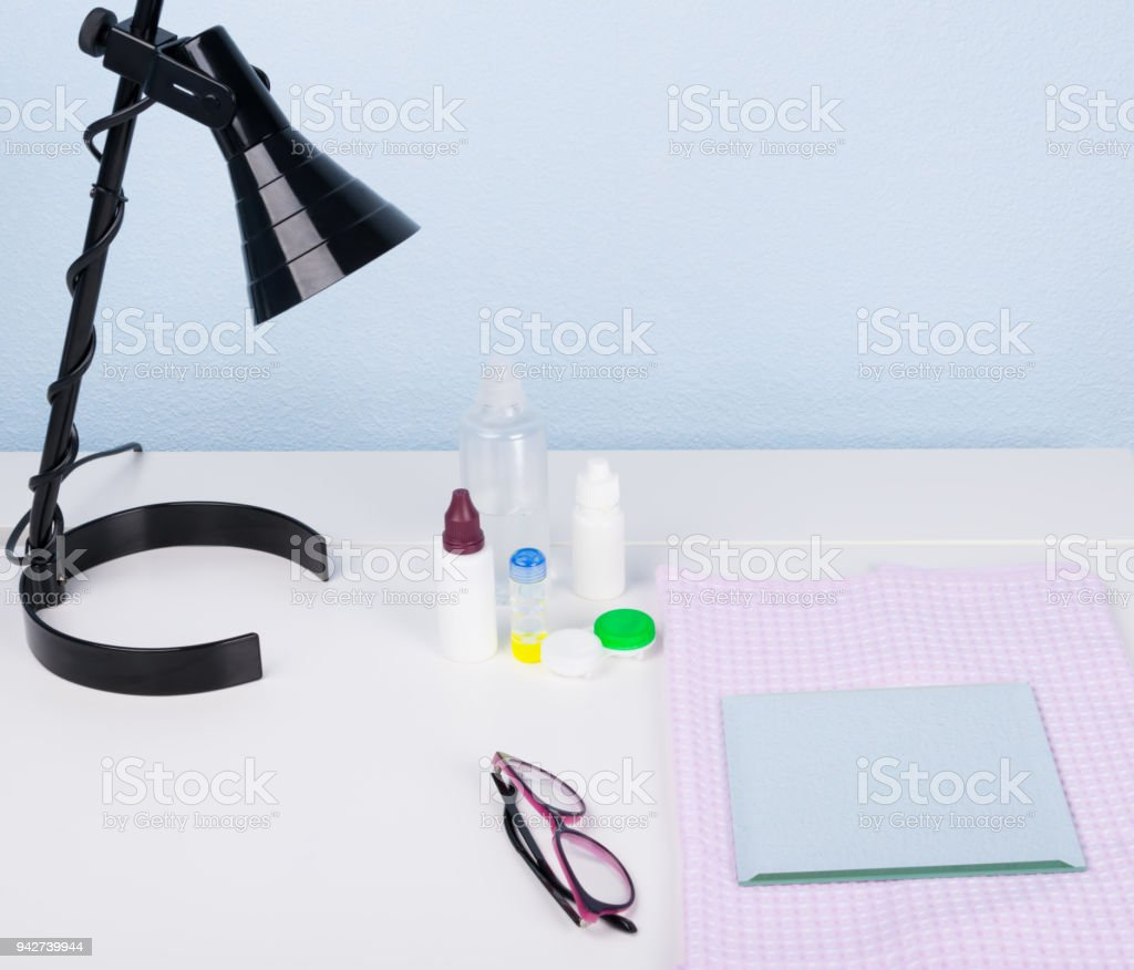 set of medical items for a good view on a light worktable stock photo