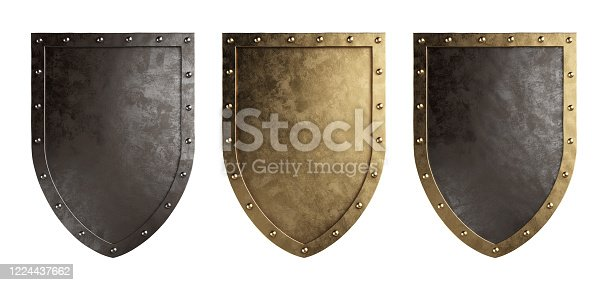 Set of medieval shields isolated on a white background. Clipping path included. 3d illustration