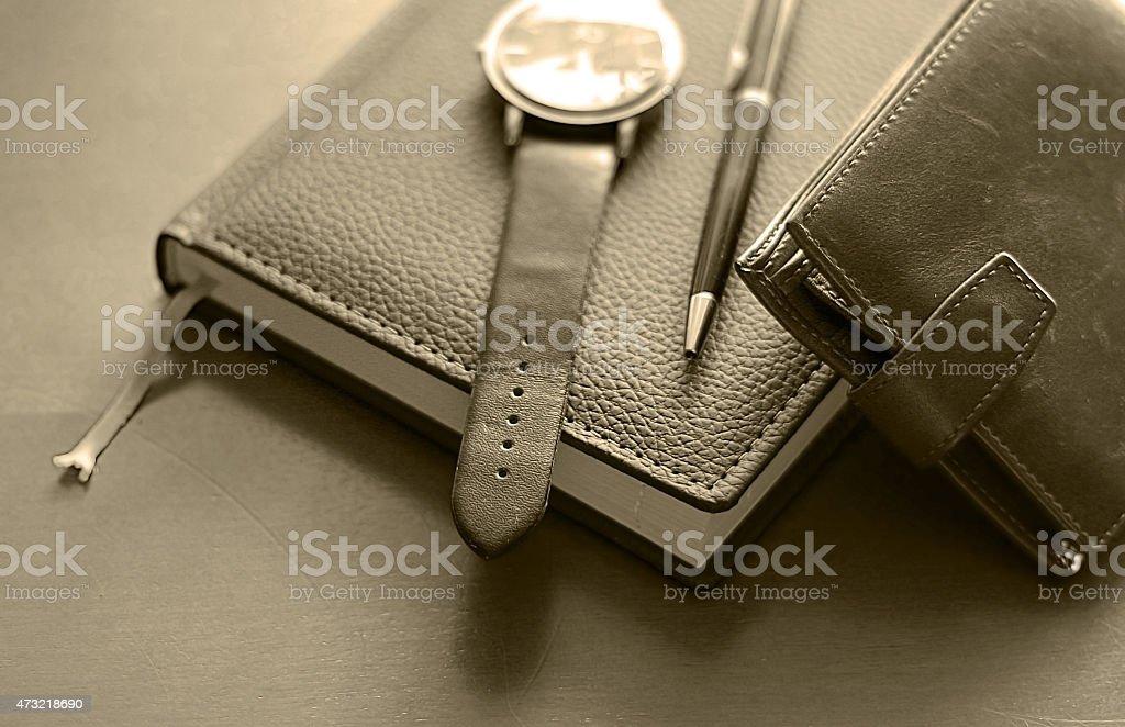 set of men diary wallet watches stock photo