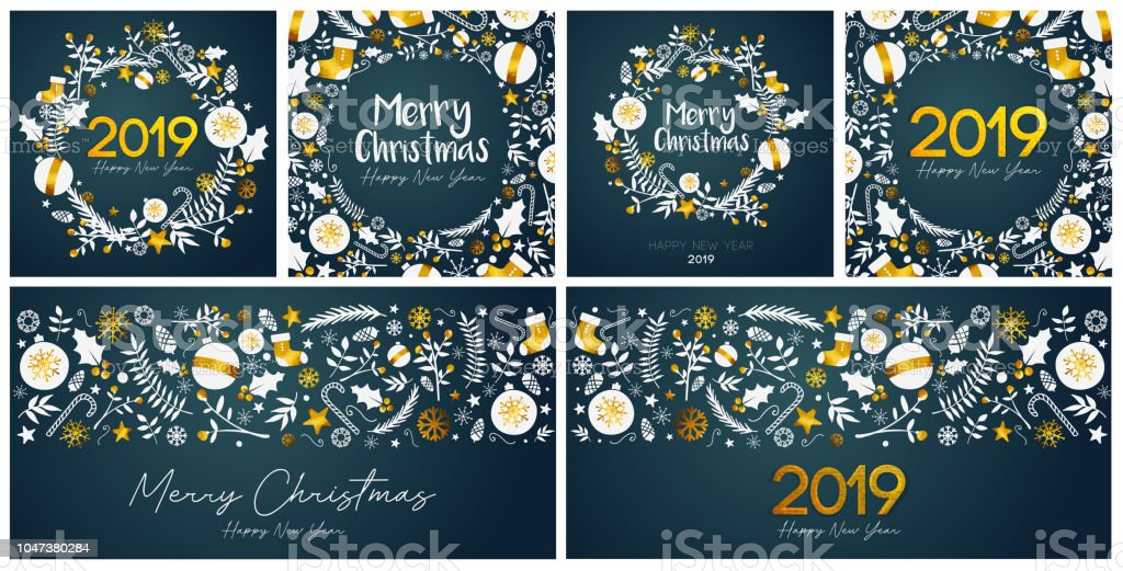 Set of Merry Christmas and Happy New Year Card Template stock photo