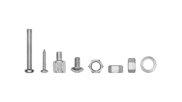 Set of metal bolt and nut isolated on white background - clipping paths. Set of metal bolt and nut isolated on white background - clipping paths. bolt fastener stock pictures, royalty-free photos & images