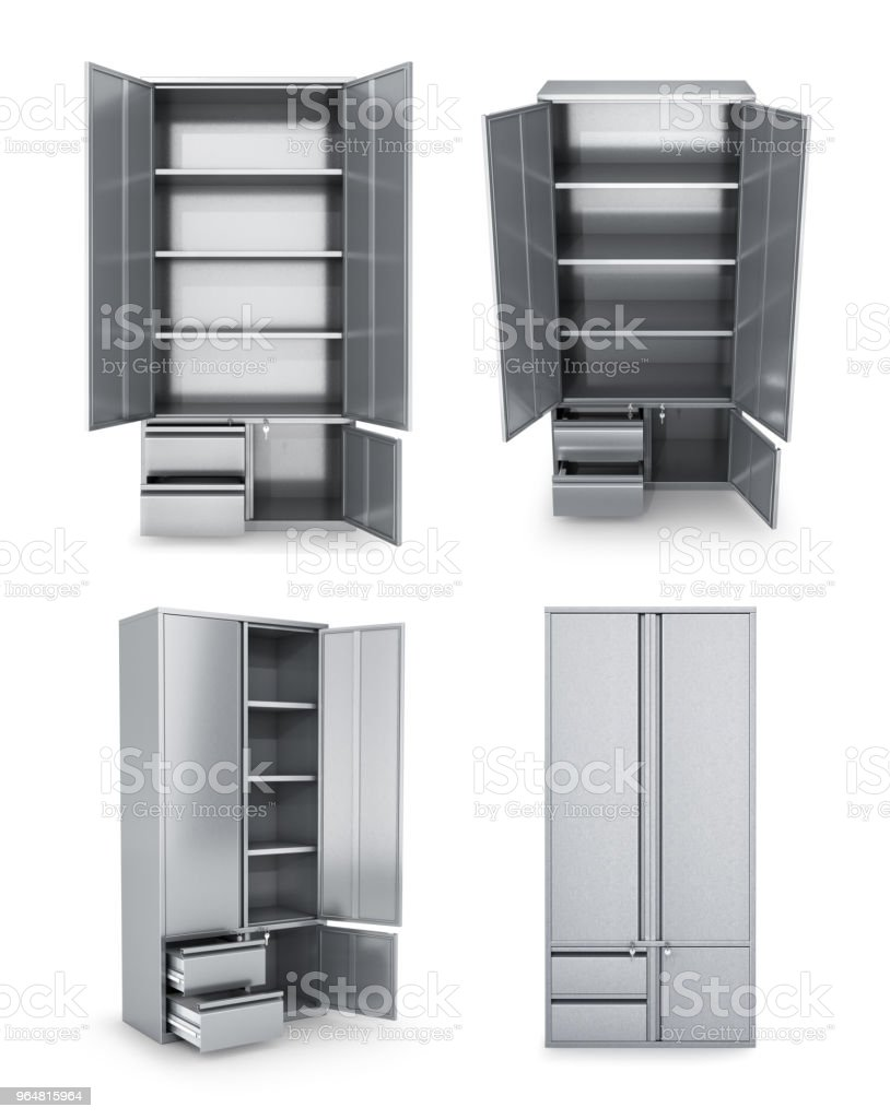 Set of metal cabinets for storage, isolated on white. Documents, tools. 3d illustrations royalty-free stock photo