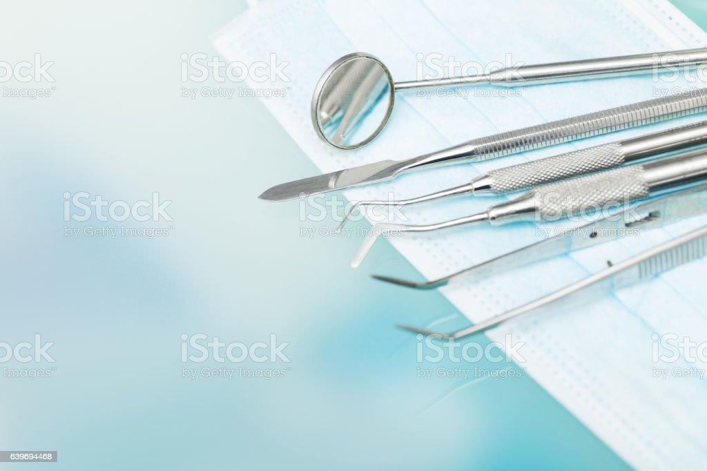 Satz von Metall Zahnarzt, die das medizinische Geräte-tools - Lizenzfrei Accessoires Stock-Foto