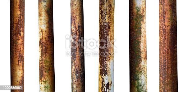 set of metal old pipes with rust isolated on white background