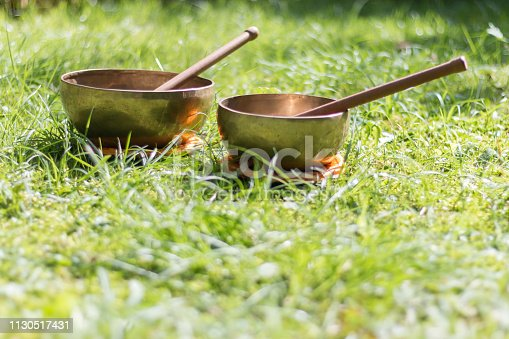 Singing bowls in the grass of the own garden, zen