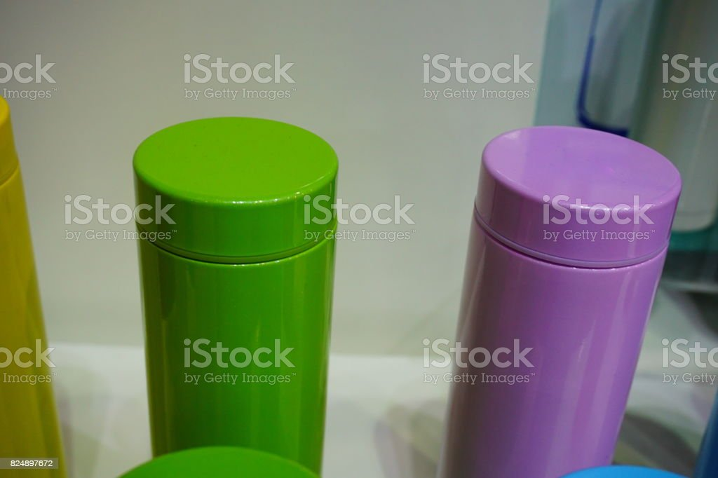 Set of metal water flask with clipping path stock photo
