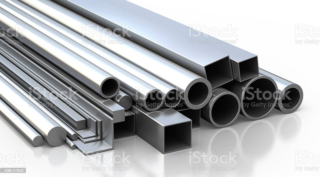 Set of metallic construction materials. stock photo