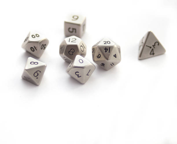 Set of Metallic RPG dices isolated on white stock photo