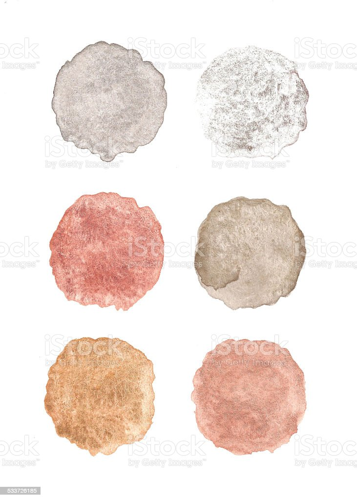 Set of metallic watercolor paint blobs, isolated on white background stock photo