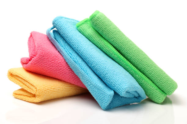 set of microfiber cleaning cloths isolated on white background - rag stock pictures, royalty-free photos & images