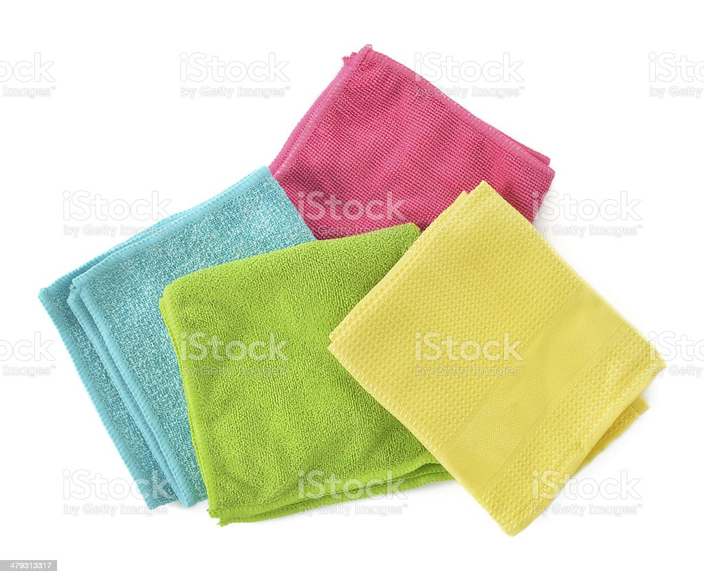 Set of microfiber cleaning cloths isolated on white. stock photo