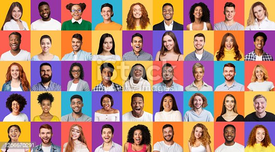 Diversity. Set Of Mixed Race People Portraits Smiling To Camera On Different Colorful Backgrounds. Panorama
