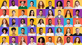 istock Set Of Mixed Race People Portraits Smiling On Different Backgrounds 1256670291