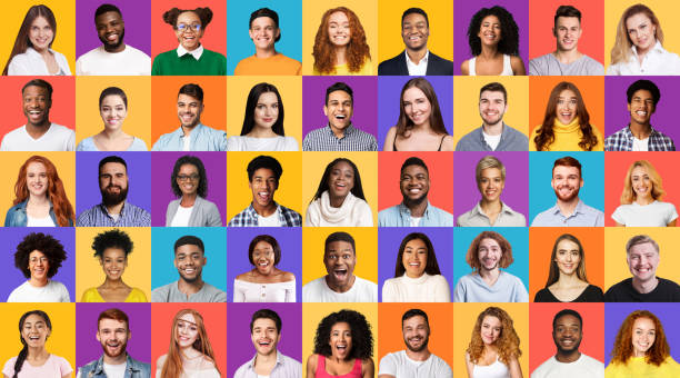 Set Of Mixed Race People Portraits Smiling On Different Backgrounds stock photo