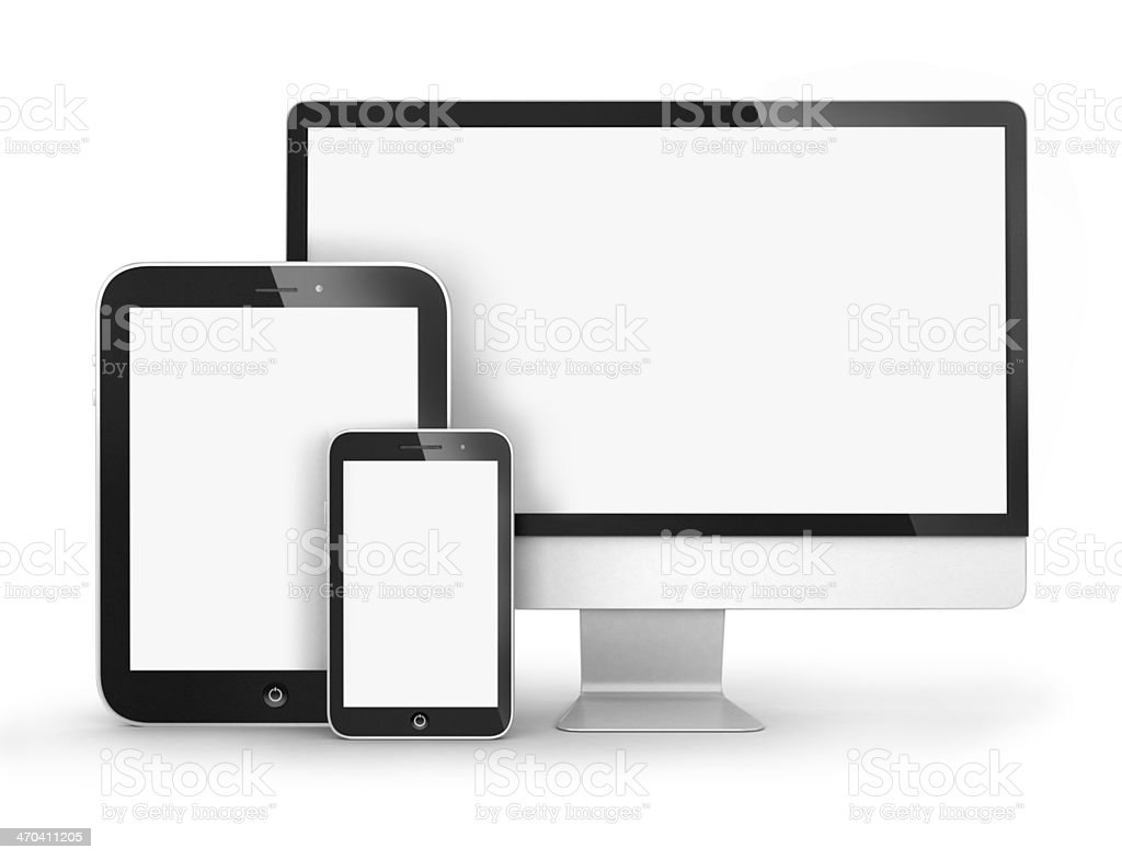 Set of Modern Digital devices stock photo