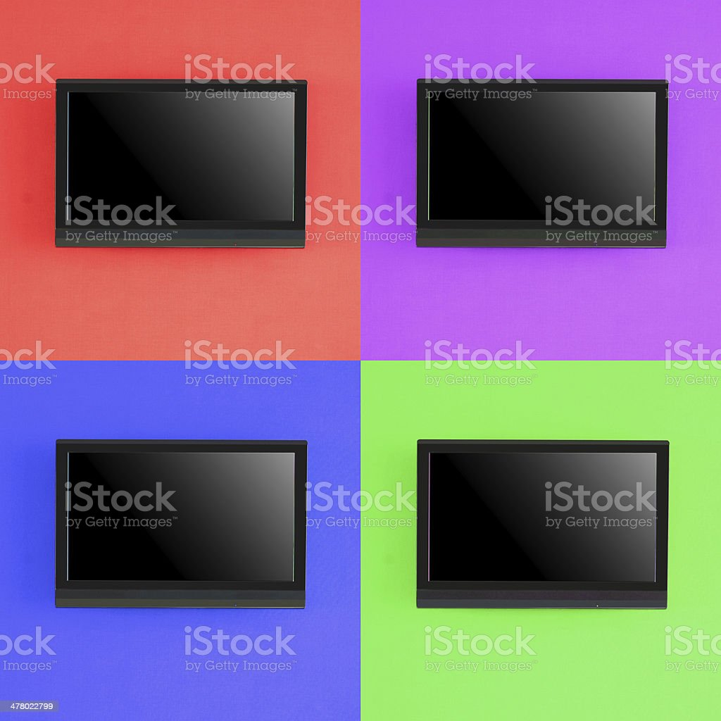 Set of modern LED screen on color wall royalty-free stock photo
