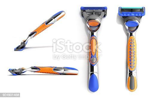 istock set of modern Mens razor 3d render on white background 924901458