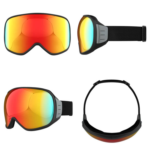 Set of Modern Snowboard Goggles Set of Original Modern Snowboard Goggles. Winter sport equipment. All side view. 3D render Illustration isolated on a white background. ski goggles stock pictures, royalty-free photos & images