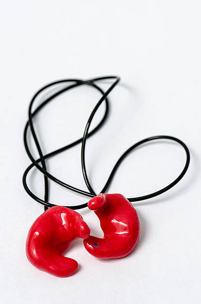 Satz von geformte red Ohrstöpsel mit Kordelzug – Foto