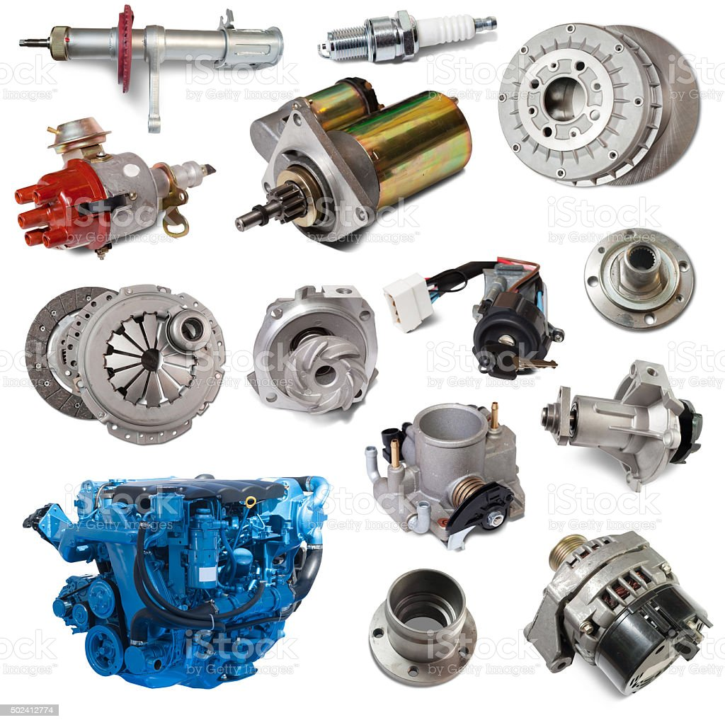 Set of motor and automotive parts. Isolated over white stock photo