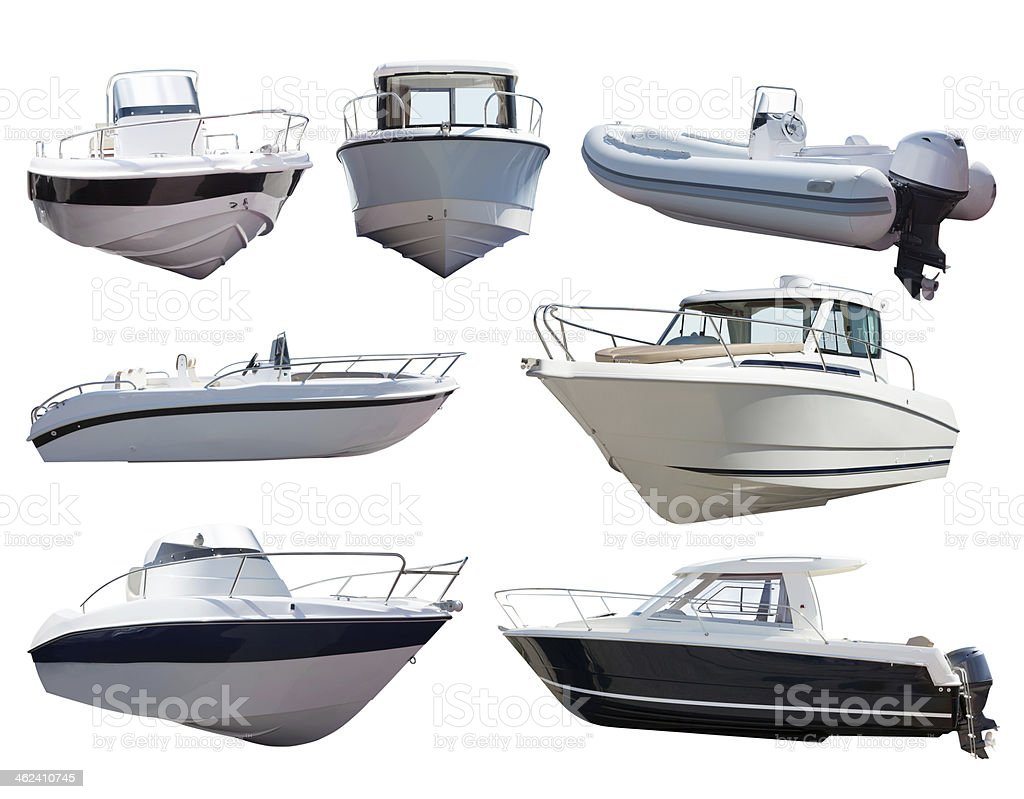 Set of motor boats. Isolated over white stock photo