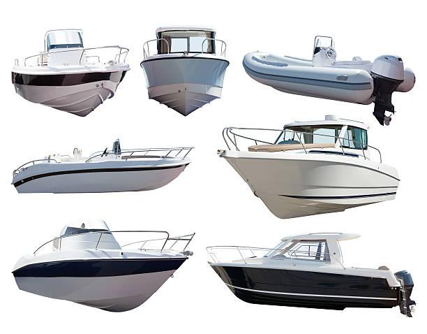 Set of motor boats. Isolated over white stock photo